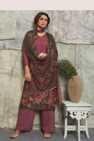 Omtex Chloe Asfa Silk Digital Print Self Embroidery With Handwork Salwar suit 1044
