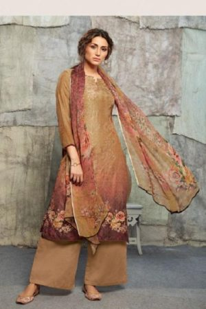 Omtex Chloe Asfa Silk Digital Print Self Embroidery With Handwork Salwar suit 1046