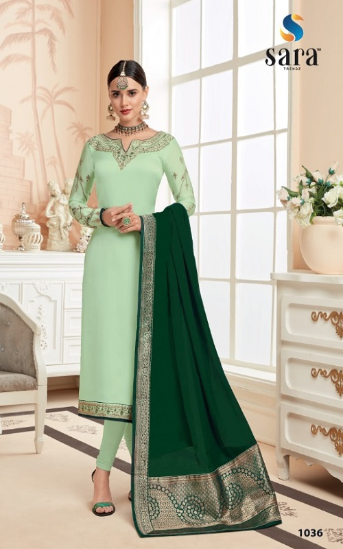 Sara Trendz Presents Eliza Satin Georgette Partywear Ladies Suits Collection 1036