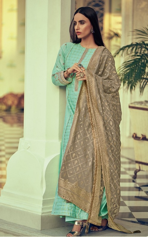 Varsha Fashions Diva Fancy Fabric With Enbroidered Sleeve And Inner Salwar suit dv-14