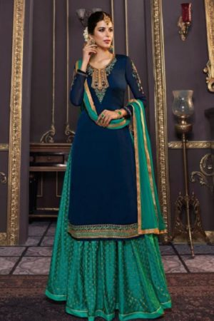 Zubeda Mishti Satin Georgette With Embroidery Work Sharara Suit 17601