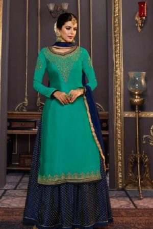 Zubeda Mishti Satin Georgette With Embroidery Work Sharara Suit 17605