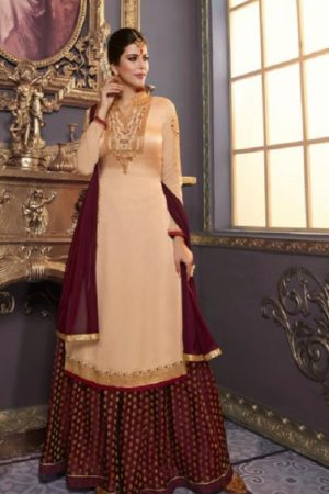 Zubeda Mishti Satin Georgette With Embroidery Work Sharara Suit 17606