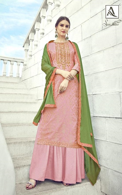 Alok Suit Presents Sunshine Pure Banarsi Dola Jacquard With Embroidery and Diamond work Ladies Suit 476-005