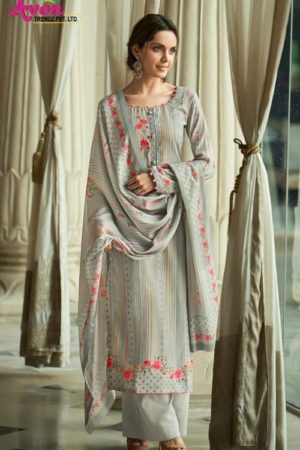Avon Presents Falak 2 Cotton Satin With Embroidery Summer Collection Designer Suit 114