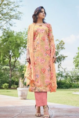 Belliza Designer Studio Presents Isabelle Pure Cotton Digital Print With Heavy Embroidery Ladies Suit 252-005