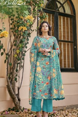 Belliza Designer Studio Presents Isabelle Pure Cotton Digital Print With Heavy Embroidery Ladies Suit 252-006