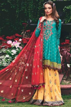 Deepsy Presents Maria B Pure Cotton Print Embroidery Pakistani Replica Suit 435