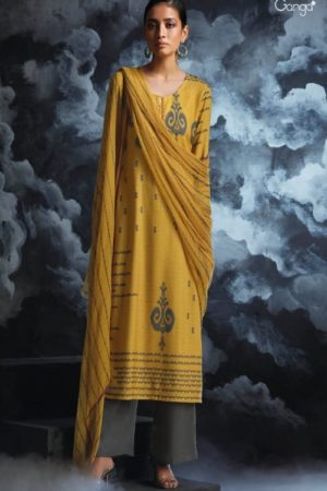 Ganga Fashions Passing Cloud Pure Cotton Satin Printed With Extra Sleeves And Handcrafted Embroidery Salwar Suit 8129