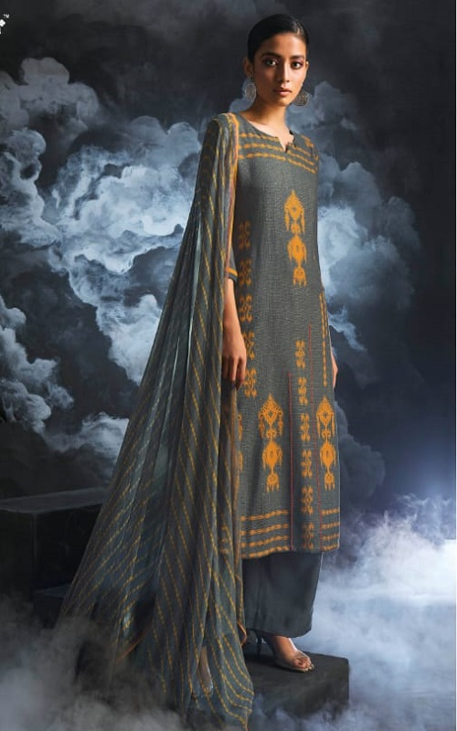 Ganga Fashions Passing Cloud Pure Cotton Satin Printed With Extra Sleeves And Handcrafted Embroidery Salwar Suit 8130