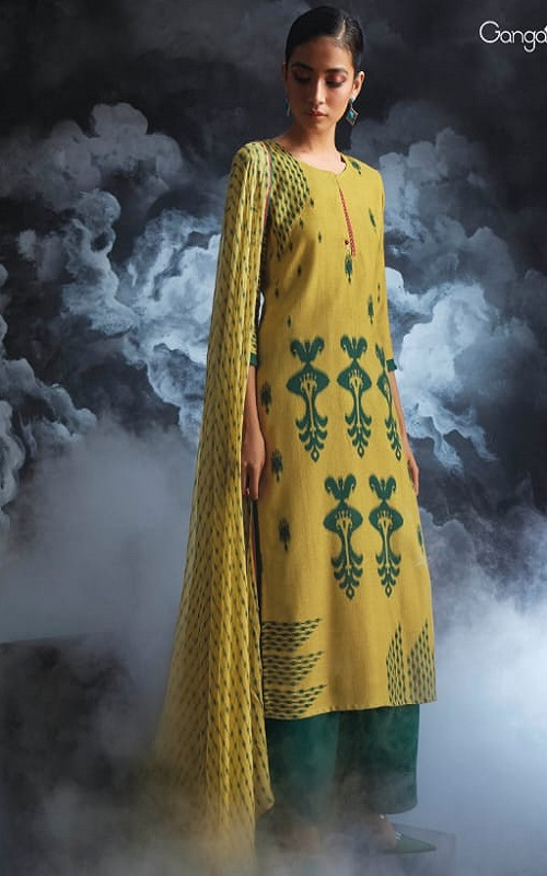 Ganga Fashions Passing Cloud Pure Cotton Satin Printed With Extra Sleeves And Handcrafted Embroidery Salwar Suit 8131