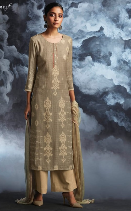 Ganga Fashions Passing Cloud Pure Cotton Satin Printed With Extra Sleeves And Handcrafted Embroidery Salwar Suit 8135