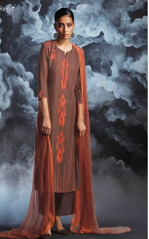 Ganga Fashions Passing Cloud Pure Cotton Satin Printed With Extra Sleeves And Handcrafted Embroidery Salwar Suit 8136