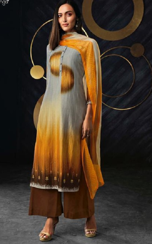 Ganga Presents Band Of Gold Pure Ice Silk Printed Embroidered Salwar Suit C0069