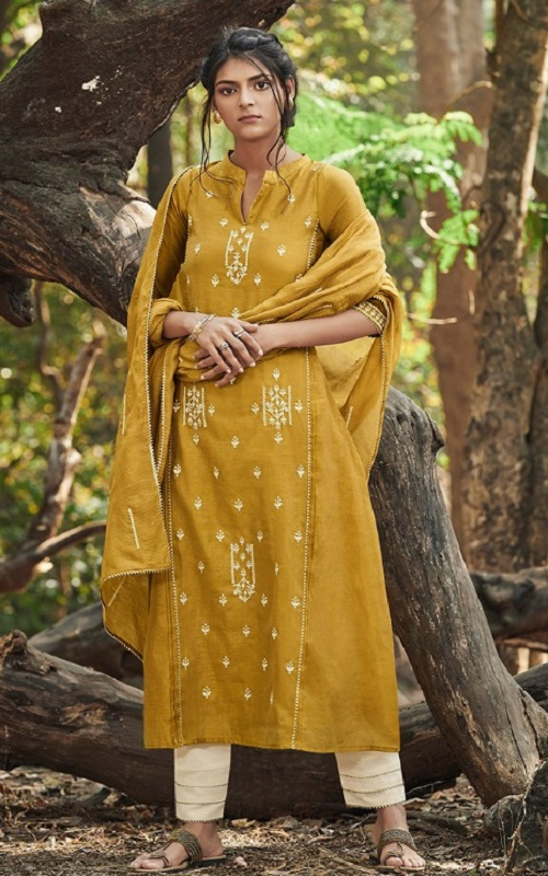 Jayvijay Presents Emberly Bemberg Linen Embroidery With Work Boutique Style Straight Suit 5104