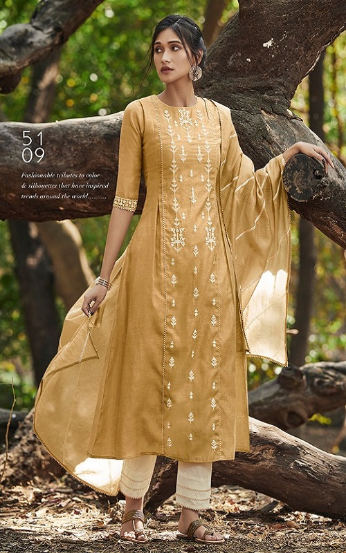 Jayvijay Presents Emberly Bemberg Linen Embroidery With Work Boutique Style Straight Suit 5109