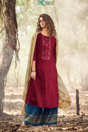 Karva Designer Studio Presents Norah Pure Jam Silk Cotton Print With Embroidery Salwar Suit 24005