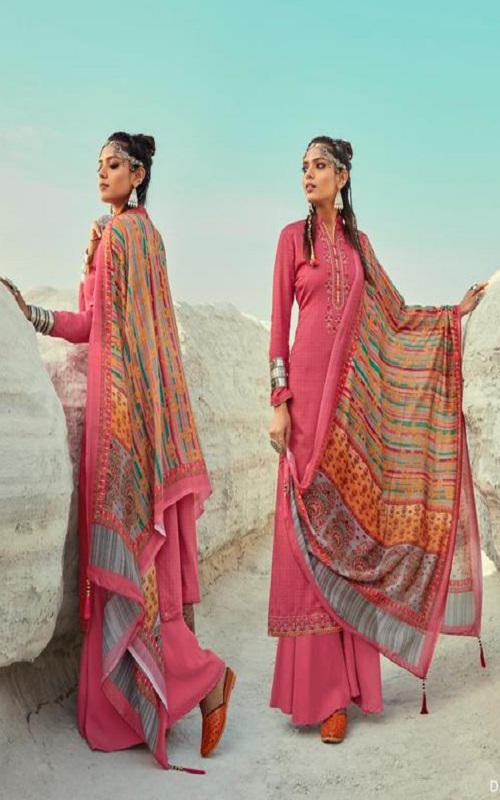 Kesar Karachi Presents Elena Jam Butti With Elegant Neck Embroidery Salwar Suit 1003