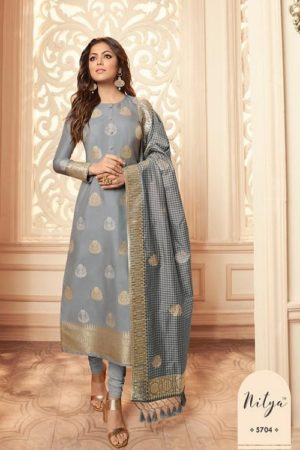 LT Fabcics Presents Nitya 157 Silk Jacquard Partywear Churidar Suit 5704