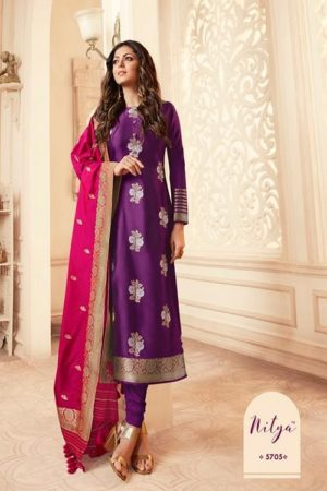 LT Fabcics Presents Nitya 157 Silk Jacquard Partywear Churidar Suit 5705
