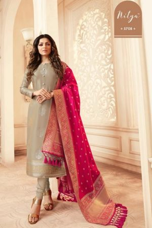 LT Fabcics Presents Nitya 157 Silk Jacquard Partywear Churidar Suit 5708