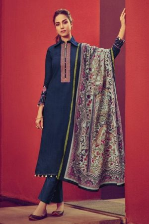 Mumtaz Arts Presents Jamdani Pure Jam Satin Print with Embroidered Salwar Kameez 6001
