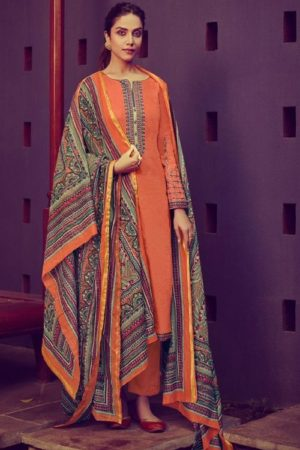 Mumtaz Arts Presents Jamdani Pure Jam Satin Print with Embroidered Salwar Kameez 6008