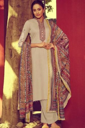 Mumtaz Arts Presents Jamdani Pure Jam Satin Print with Embroidered Salwar Kameez 6010