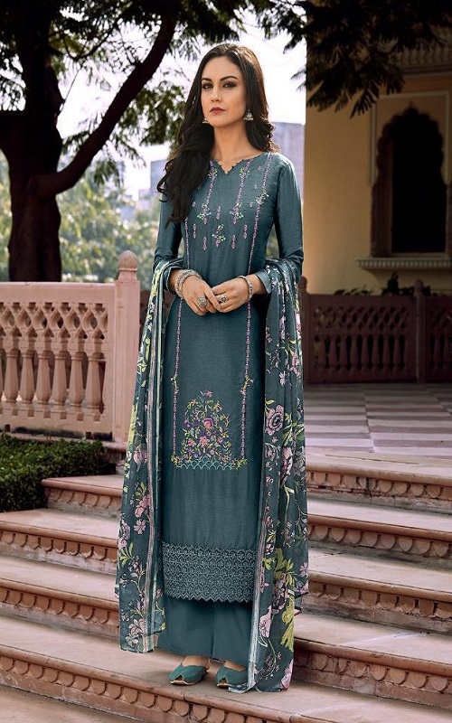 Prm Trendz Delicacy Pure Bemberg Russian Matka Silk With Embroidery Work salwar suit 3322