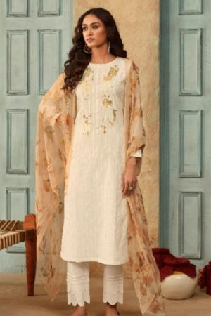 Sahiba Sarg Presents Leaflet Pure Lawn Pattern Embroidery with Handwork Salwar Suit 825
