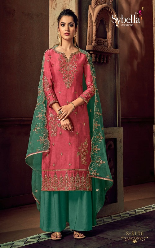 Sybella Presents Partywear Collection Silk with Work Ladies Salwar Suit S-3106