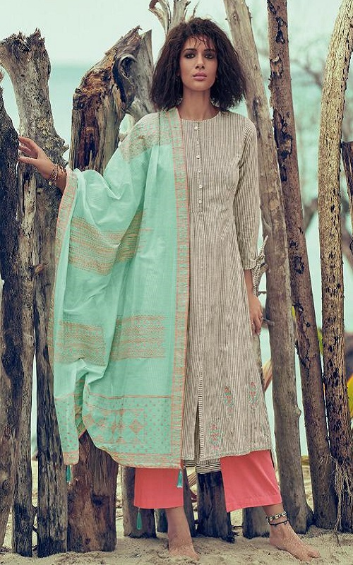 Varsha Fashions Coral Superior Cotton Printed With Embroidery Salwar Suit CR-53