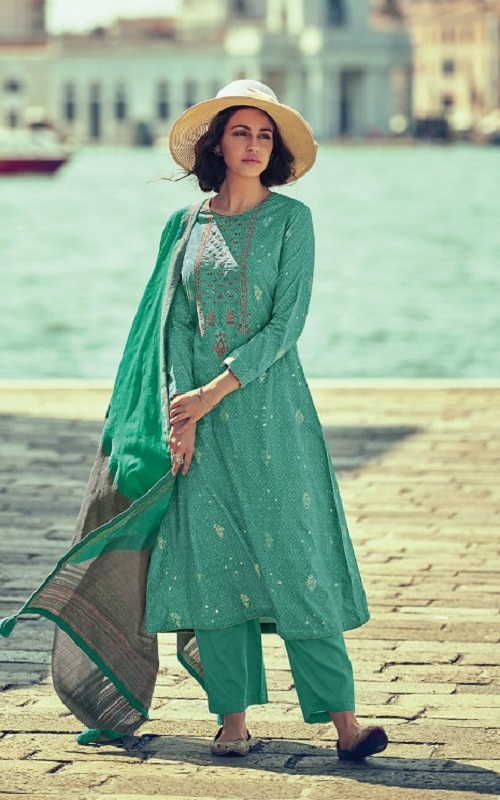 Varsha Fashions Presents Taahira Fine Cotton Printed With Embroidery Designer Straight Suit TH-02