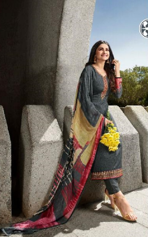 Vinay Fashion Presents Silkina Royal Crepe With Embroidery Designer Straight Suits 12307
