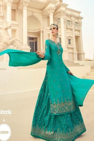 Zubeda Presents Mitraa Heavy Satin Georgette With Heavy Embroidery Designer Partywear Lehanga Suit Collection 18006