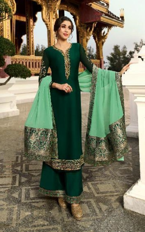 Zubeda Presents Suvarna 2 Satin Georgette with Embroidery Work Partywear Ladies Suit Collection 18205