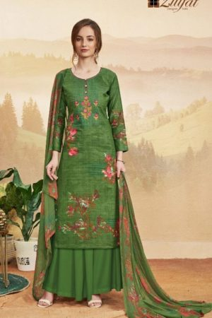 Zulfat Designer Studio Presents Niharika Pure Cotton Printed and Embroidered Unstitched Ladies Suit 153-001