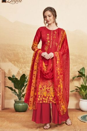 Zulfat Designer Studio Presents Niharika Pure Cotton Printed and Embroidered Unstitched Ladies Suits 153-002