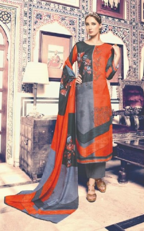 Buy Fiona Naomi Cotton Satin Digital Print Suit 22157