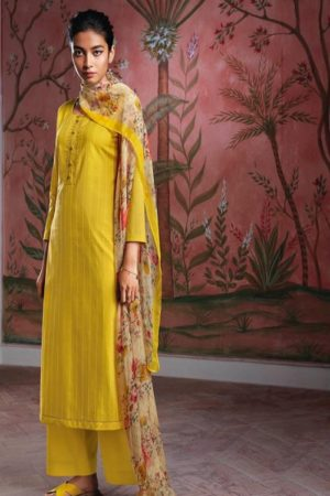 Ganga Fashions Ryuu Super Cotton Lawn Foil Print With Embroidery And Button Work Salwar Suit C0275
