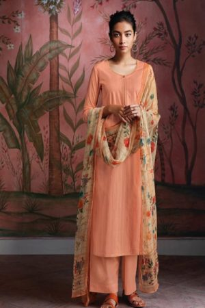 Ganga Fashions Ryuu Super Cotton Lawn Foil Print With Embroidery And Button Work Salwar Suit C0278