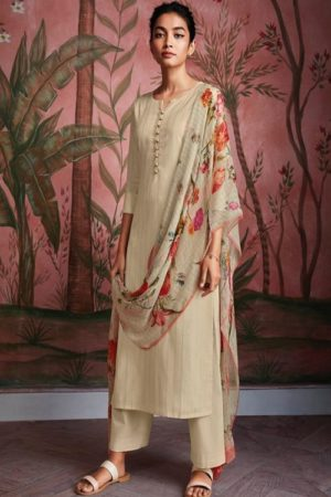 Ganga Fashions Ryuu Super Cotton Lawn Foil Print With Embroidery And Button Work Salwar Suit C0281