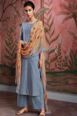 Ganga Fashions Ryuu Super Cotton Lawn Foil Print With Embroidery And Button Work Salwar Suit C0282