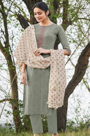 JayVijay Presents Hiraya Pure Cotton Lining Embroidery With Work Salwar Suit 5270