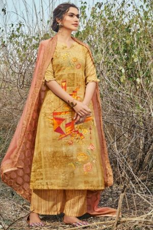 Jayvijay Presents Esther Cotton Slub Digital Print With Handwork Salwar Suit 5222