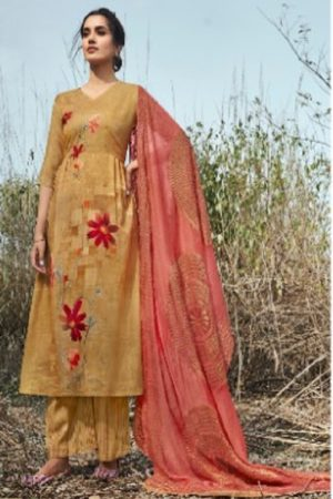 Jayvijay Presents Esther Cotton Slub Digital Print With Handwork Salwar Suit 5225