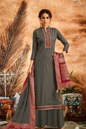 Kapil Fab Sheen Pure Cotton Banarsi Weave Self Jacquard With Embroidery Work Salwar Suit 69002