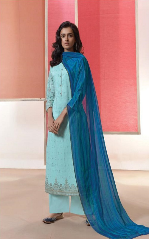 Omtex Coco Heavy Lawn Cotton Foil Print With Work Salwar Suit 1032