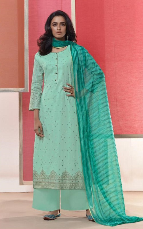 Omtex Coco Heavy Lawn Cotton Foil Print With Work Salwar Suit 1036