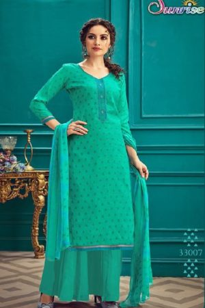 Sunrise Creation Presents Sonika 33 Slub Cotton With Embroidery Work Salwar Kameez 33007